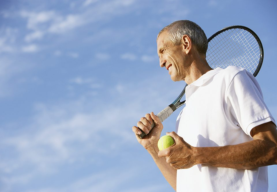 Middle-aged tennis guy